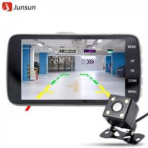 "Junsun 4.0"" Car DVR Camera Dual Lens with LDWS ADAS Rear"