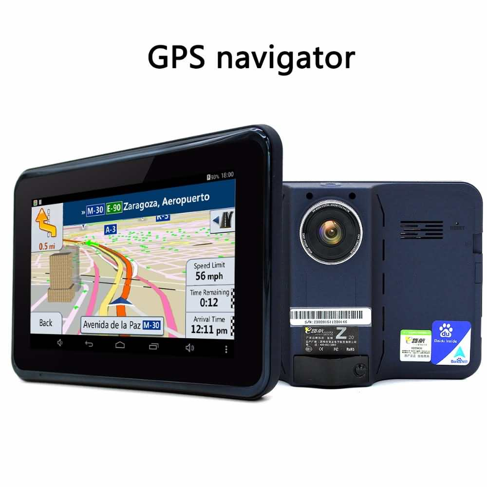buy junsun 7 inch gps navigation android radar detector with dvr rear. Black Bedroom Furniture Sets. Home Design Ideas