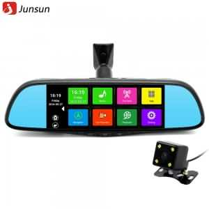 "Junsun 7"" Touch Special Car DVR Camera Mirror GPS Bluetooth 16GB Android 4.4 Dual Lens FHD 1080p Video Recorder"