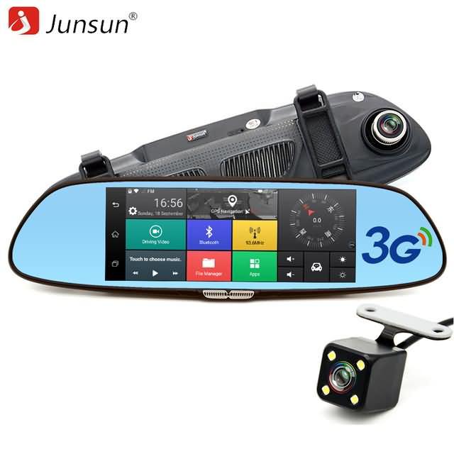 Buy Junsun 7inch 3g Car Camera Dvr Gps Dual Lens Rearview Mirror