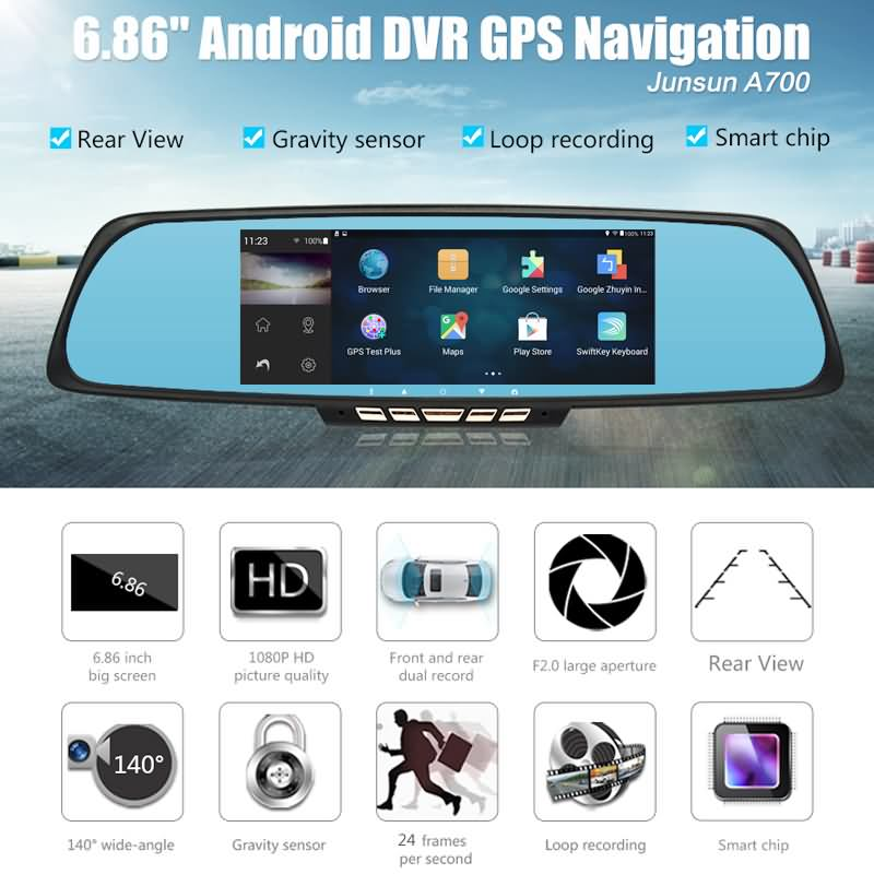 buy junsun dvr mirror inch car camera dvr gps navigation dual lens rearview mirror video. Black Bedroom Furniture Sets. Home Design Ideas