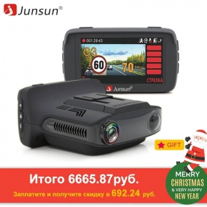 Junsun 3 in 1 Video Recorder Car DVR Camera Ambarella A7 Radar Detector GPS LDWS Full HD 1296p 170 Degree