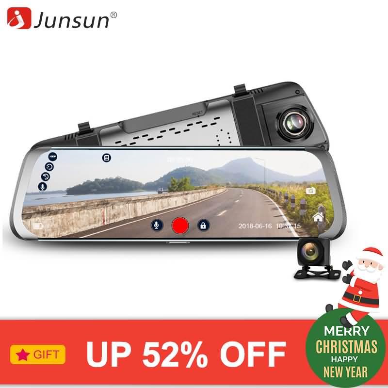 Junsun Car DVR 4G Android 10″ IPS Stream RearView Mirror FHD 1080P Dash Cam  Camera Video Recorder Auto Registrar