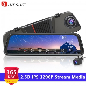 "Junsun H16 2.5D FHD 1296P Stream Media RearView Mirror DVR Dual lens Dash Camera 10"" IPS Night Vision Parking Monitor"