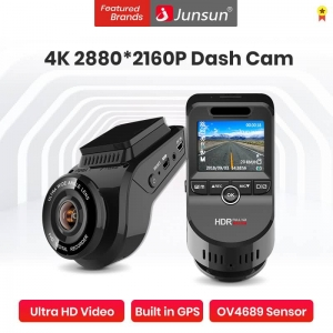 Junsun Car DVR Camera 4K 2160P S590 Build In GPS ADAS Dash Cam Front & Rear Both 1080P Driving Recorder Motion Detection Night Video