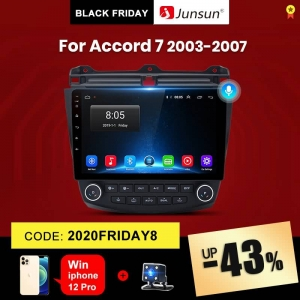 Junsun V1 Honda Accord 7 2003-2007 Navigation GPS Auto 2 din 2G 32G Android 10.0 Car Radio Multimedia Player