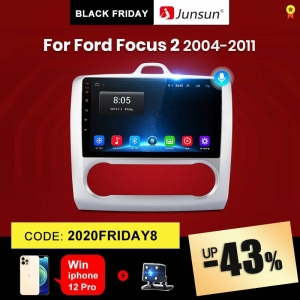 Junsun V1 ford focus 2 Mk2 2004-2011 Car Radio Multimedia Video Player 2G+32G Android 10.0 DSP Navigation GPS RDS 2 din dvd